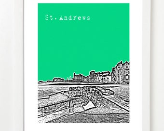 St. Andrews Skyline Print - St. Andrews Scotland Poster - Golf Gift