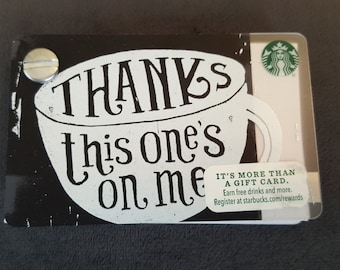 Starbucks Upcycled Refillable Giftcard Notebook - 2015 Thanks This One's On Me Coffee Cup
