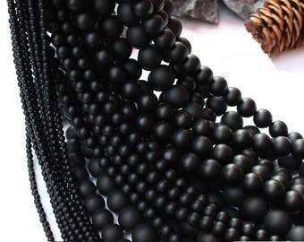 Natural frosted black agate round loose DIY gemstone beads strand 16'' 6mm 8mm 10mm 12mm 14mm