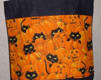 New Medium Handmade Halloween Jack O Lantern Cool Cats Denim tote Bag