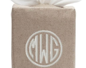 Monogrammed Tissue Box Cover Linen White Natural Bath Monogram