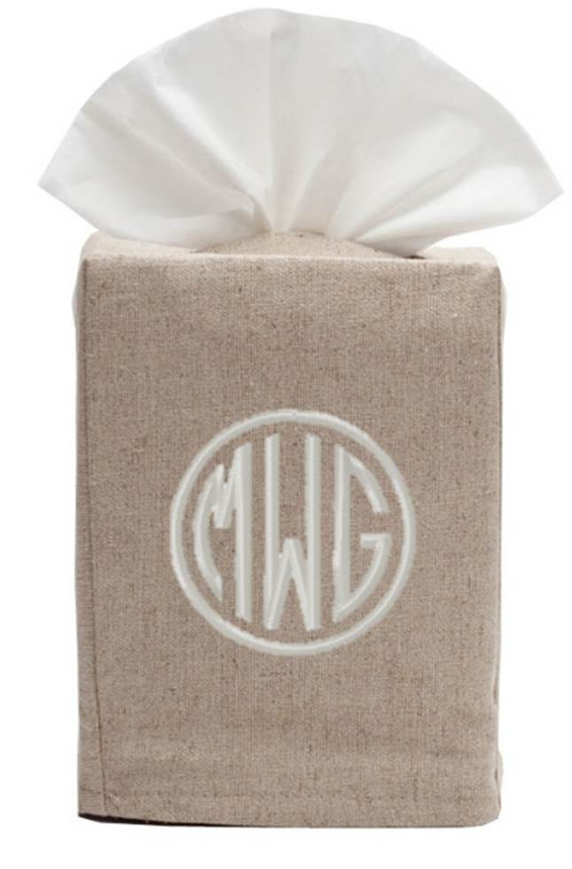 monogrammed tissue box cover linen white natural bath monogram