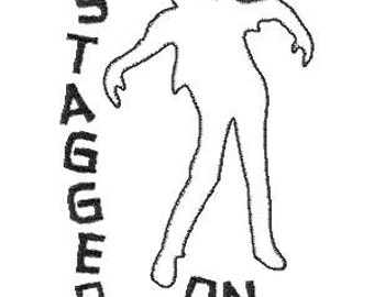 Zombies Stagger On Undead Walking Walkers Dead Raggy Machine Embroidery Applique Design