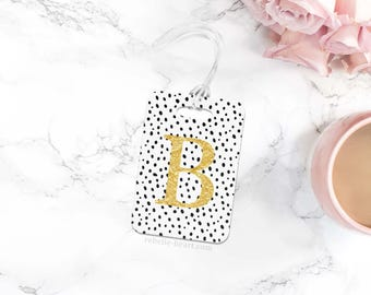 Luggage Tag, Personalized Tag, Gold Luggage Tag, Custom Bag Tag, Cute Luggage Tags, Custom Gift For Her, Travel Gifts, Black Bag Tag