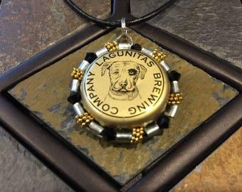 BOTTLE CAP PENDANT with black leather cord necklace