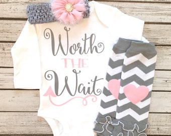 Baby Girl Clothes, Worth the Wait Bodysuit, Worth the Wait, Worth The Wait Baby Girl Shirt, Take Home Outfit Optional, Baby Shower Gift