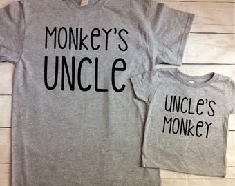 Uncle and Nephew Shirts - Uncle and Niece Shirts - Monkey Shirts - New Uncle Shirt - Uncle Gift - Brother in Law Gift - Matching Shirts