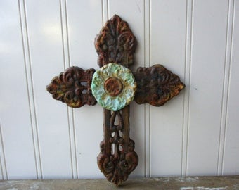 8 inch metal cross faux rust verdigris heart wall hanging rustic cast iron cross vintage style Christian decor 6th anniversary gift LR10