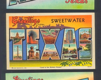 1940's Linen Postcards  -  Greetings From Texas  - Big Letters - Collectible, Collage, Altered Books
