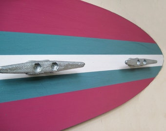 Pink, Turquoise and White  Wood Surfboard Coat Rack with Three Boat Cleats 3 Feet Long