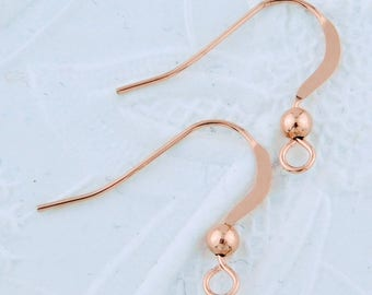 14K Rose Goldfill Earwires_Gold-filled_Precious Metal_Rose Gold_French Earwires_Hooks_21 gauge