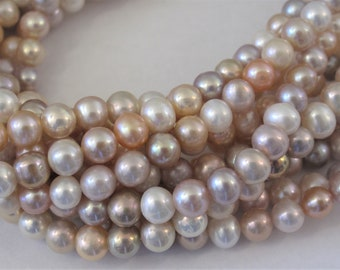 7-8mm FullStrand-Mutli Natural White Pink Mauve Peach Pearl Beads,High Luster Mixed Natural Color FreshwaterPearl Beads,Genuine Pearls(#168)