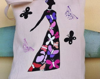 Handpainted cotton bag with butterflies