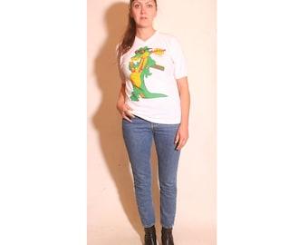 Vintage 1980s Cartoon Baseball V Neck Hard Croc Cafe USA Poly Cotton Blend Crocodile Shirt size S