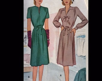 Vintage 40s Slit Neck Pointed Collar Bow Trimmed Maternity Dress Sewing Pattern McCall 6258 B36