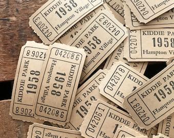 Vintage Tickets - 20 Tickets - Vintage Carnival Tickets, Vintage Park Tickets, Junk Journal Tickets, Altered Art, Vintage Paper Ephemera