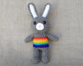 Rainbow Baby Crochet Rattle Bunny Rabbit New Baby Gift Baby Shower Gift Baby Rattle Crochet toy Bunny Rabbit Rainbow Animals Eco Toys