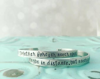 Mother Daughter Jewelry - Mothers Day from Daughter - Hand Stamped Cuff Bracelets - Together Forever Never Apart Maybe in Distance But Never