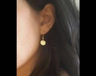 Earrings gold coin, minimalist earrings, coin earrings, golden coin earrings, Easter gift, lucky charm, coin pendant