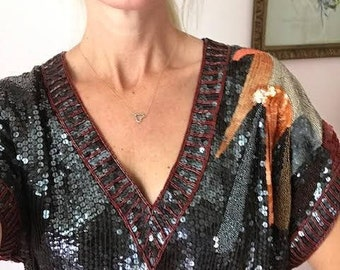 CUSTOM Lisitng...& Rust Sequin Beaded 100% SILK Top/Funky Spray on Shoulder/80's/70's/Hook and Eye Closure at Side/Great Cond/Size M/6