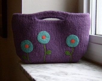 Lavender Poppy Felted Clutch Purse - Made to Order