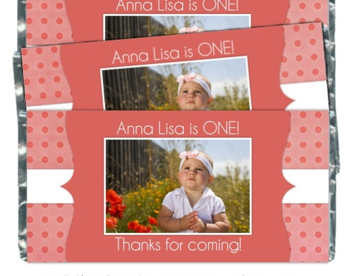 1st Birthday Printable Candy Wrappers, Photo Candy wrappers, First Birthday Candy Wrappers - fit over chocolate bars - CUSTOM design for you