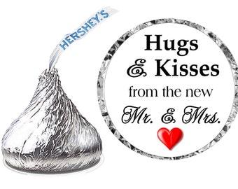 216 ~ HUGS & KISSES Wedding Favors Hershey Kiss Kisses stickers Labels ~ Free Shipping