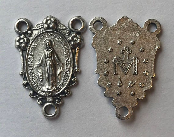 5 Rosary Center Findings, Mary Immaculate, Border, Die Cast Silverplate, Silver Color, Oxidized Metal, Made in Italy, Charm, Religious