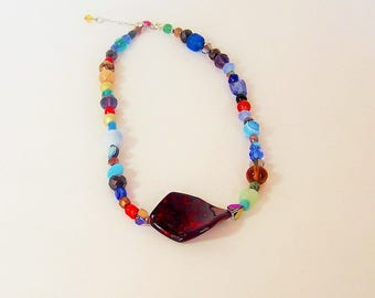 Handmade Necklace.Jewelry,Necklace,Boho Necklace, Colorful Necklace,Beaded Necklace