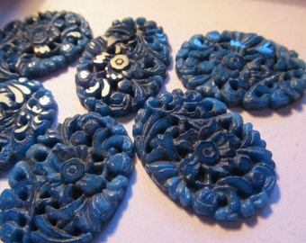 31x22mm Vintage Glass Cabochon (1) Matt Lapis Flower Large Cab