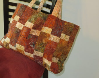 Medium or small quilted tote bag in fall colors
