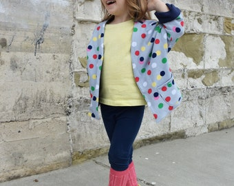 Knit Jacket, Knit Cardigan, Toddler Cardigan, Polka Dot Cardigan, Open Cardigan, Toddler Open Cardigan, Toddler Open Jacket, Baby Cardigan
