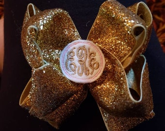 Double stack glitter bow with monogram center
