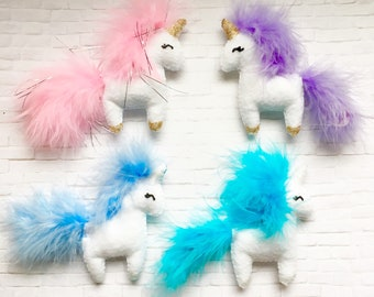Plush Felt Fluffy Unicorn Locker Magnet in Choice of Color with Gold or Silver