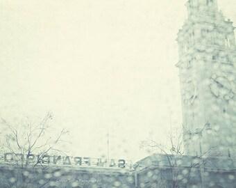 San Francisco photography, rainy winter photograph, grey gray raindrops, Ferry Building pier vacation romantic California city, icy blue