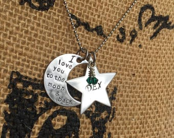 Hand stamped moon and star with birthstones and names