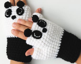 Mittens | Panda  | Crochet