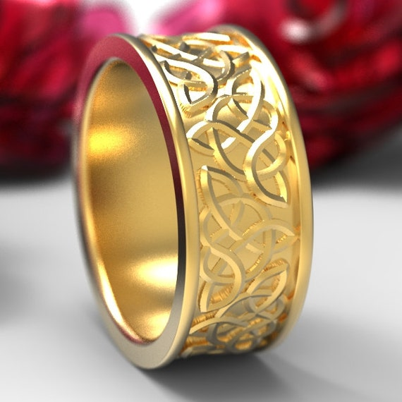 Celtic Wedding Ring With Raised Relief Knotwork Design in 10K 14K 18K Gold, Palladium or Platinum, Made in Your Size CR-66