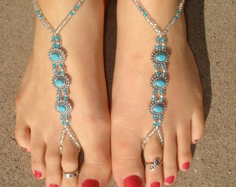 Silver and Turquoise Oval Barefoot Sandals, Slave Anklet, foot thong, ankle bracelet with toe ring