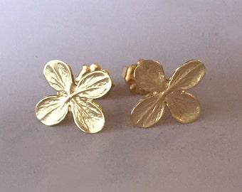 14k Gold Flower Post Earrings, Yellow Gold, Hydrangea Flower Stud Earrings, Free Shipping, Gardening Gift