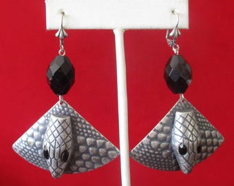 Pair of Vintage 3 - Inch  French Jet Snake Earrings