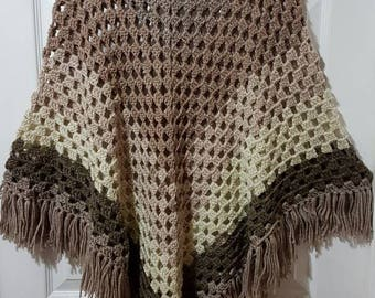 Beige/Brown Ombre Poncho