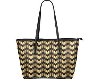 Gold Black Chevron Print Leather Tote bag (high quality print bags)