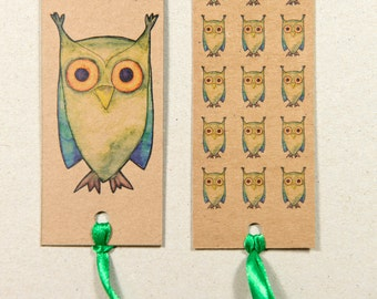 Tanya the owl design, double sided card bookmark