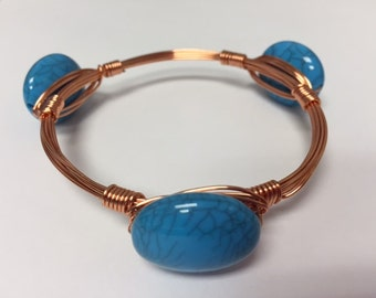 Wire Wrapped Bracelet--Copper and Blue