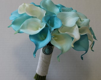 Wedding Bouquet Turquoise Calla Lilly Bouquet Bridal Bouquet Turquoise Bouquets Wedding Bouquets Bouquets  Calla Lily Wedding Bouquet