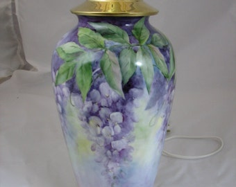 Wisteria hand painted on a Porcelain lamp