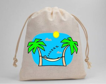 Vacation, Tropical, Muslin Bags, Candy Bags, Treat Bags, Favor Bags, Party Bags, Goodie Bags, Drawstring Bags, 5x7, Fabric Bag, Set of 5s