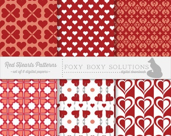 Red Hearts Patterns Pack: Digital Papers, set of 6
