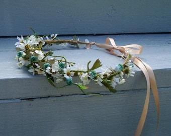 Music festival flower crown hippie hair wreath Wild Daisies boho Fairy halo Bridal headpiece Wedding accessories artificial headdress Rave